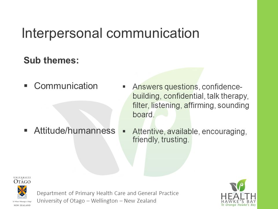 Department of Primary Health Care and General Practice University of Otago – Wellington – New Zealand Interpersonal communication Sub themes:  Communication  Attitude/humanness  Answers questions, confidence- building, confidential, talk therapy, filter, listening, affirming, sounding board.