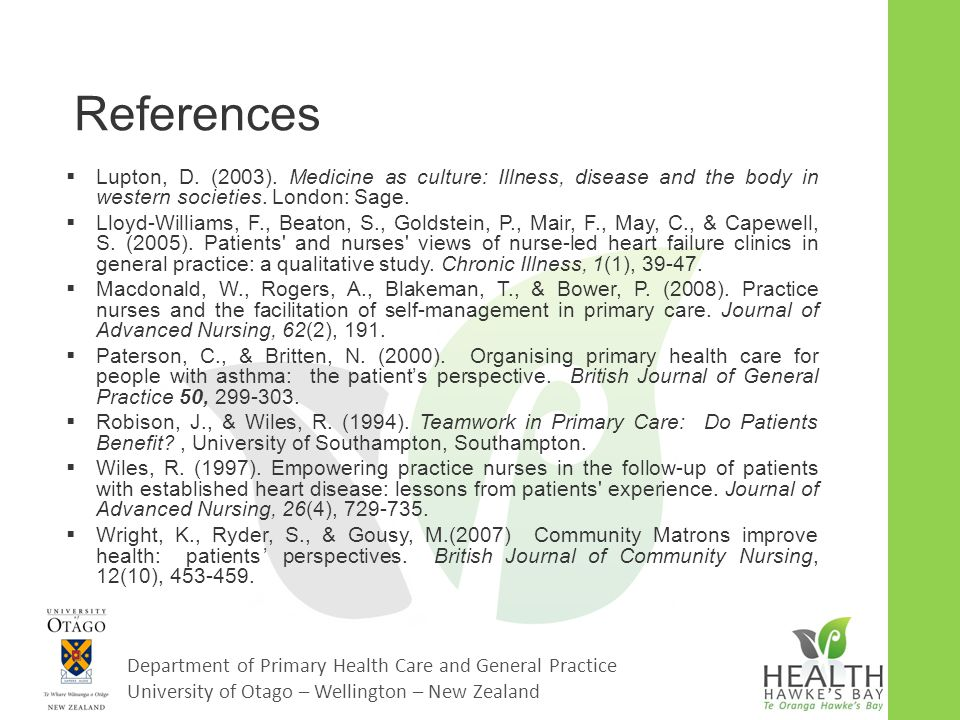Department of Primary Health Care and General Practice University of Otago – Wellington – New Zealand References  Lupton, D. (2003). Medicine as cult