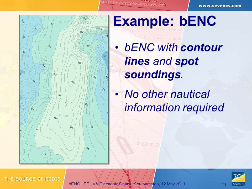 bENC - PPUs & Electronic Charts, Southampton, 12 May 2011 11 Example: bENC bENC with contour lines and spot soundings.