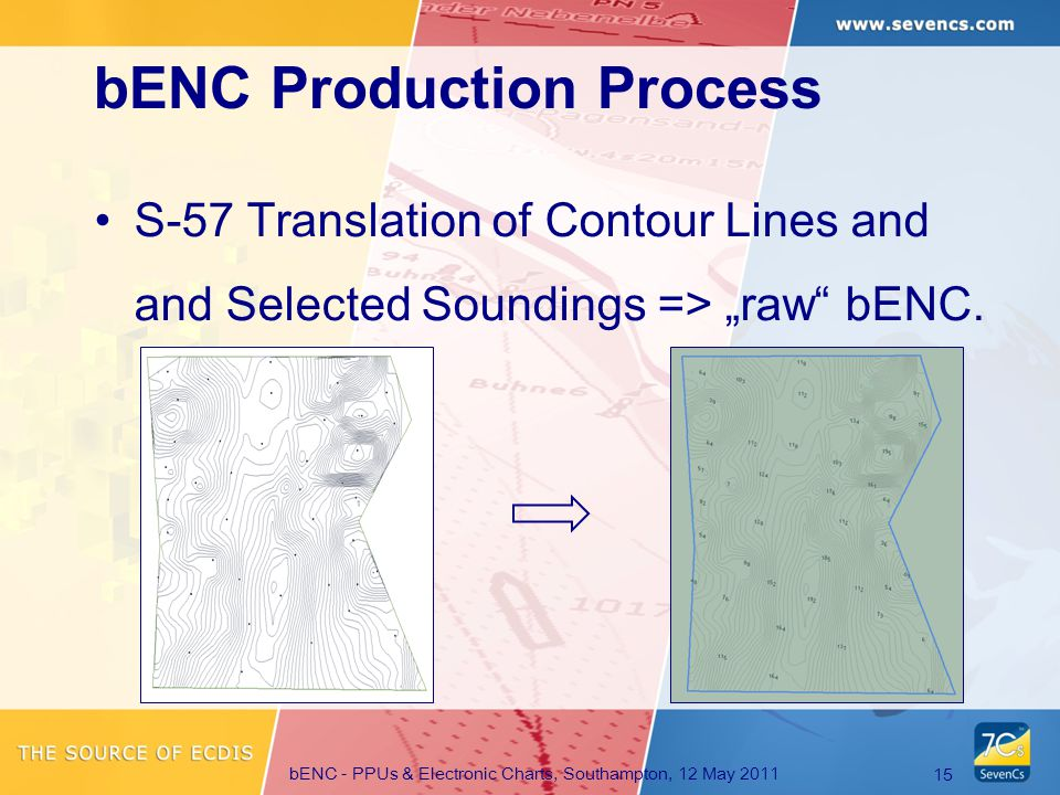 "bENC - PPUs & Electronic Charts, Southampton, 12 May 2011 15 S-57 Translation of Contour Lines and and Selected Soundings => ""raw bENC."