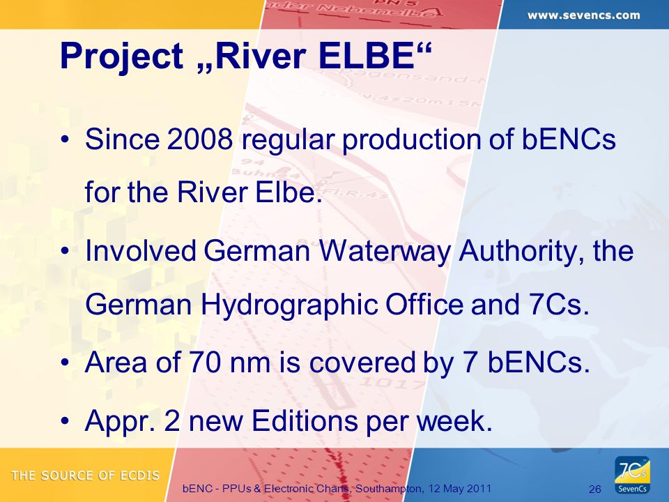 bENC - PPUs & Electronic Charts, Southampton, 12 May 2011 26 Since 2008 regular production of bENCs for the River Elbe.