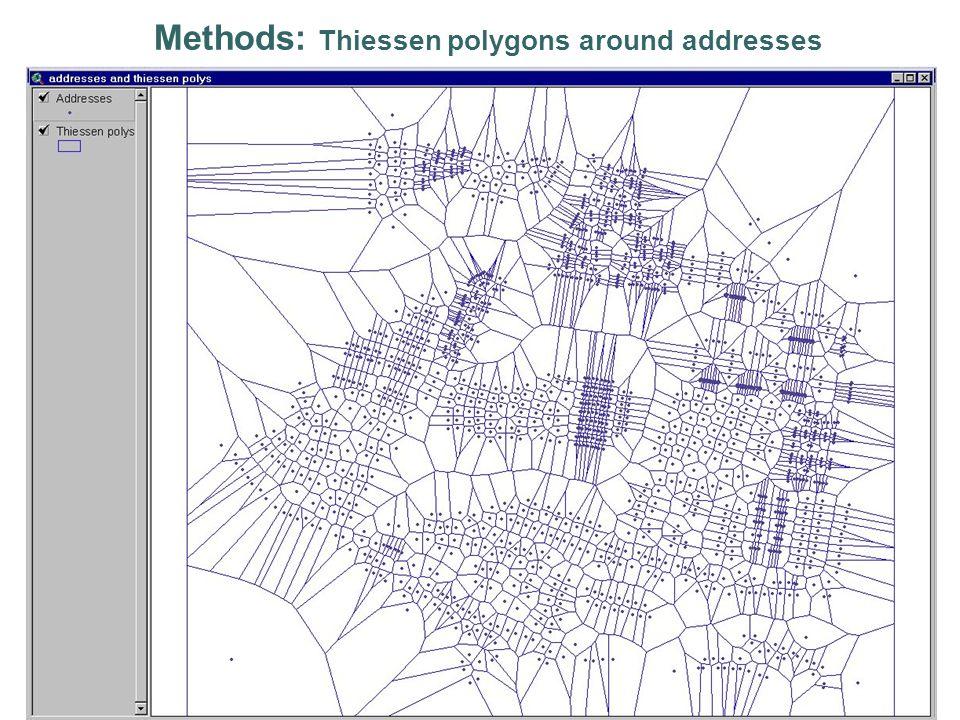 Methods: Thiessen polygons around addresses