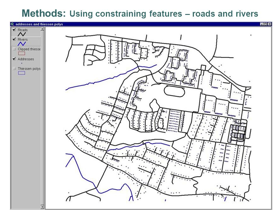 Methods: Using constraining features – roads and rivers
