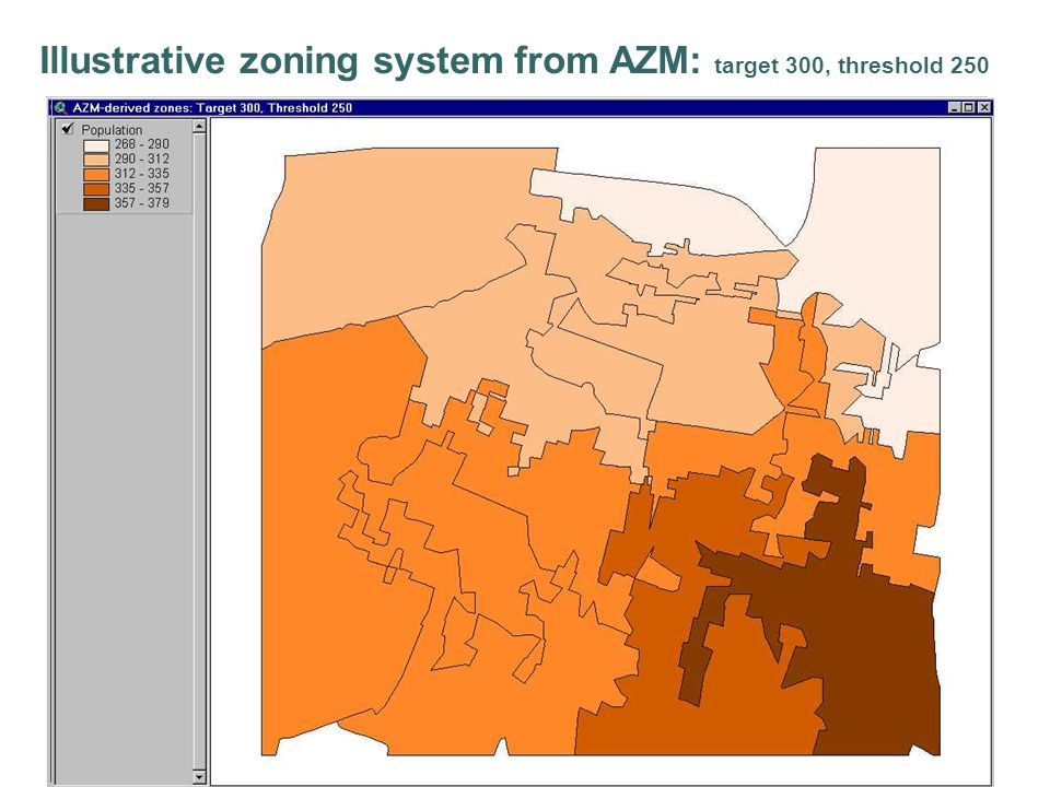 Illustrative zoning system from AZM: target 300, threshold 250
