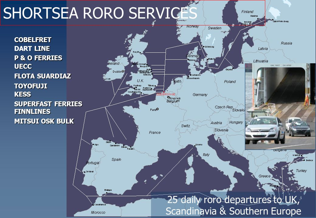 COBELFRET LINE DART LINE KESS P & O FERRIES SUPERFAST FERRIES UECC FLOTA SUARDIAZ TOYOFUJI FINNLINES MITSUI OSK BULK SHORTSEA RORO SERVICES 25 daily roro departures to UK, Scandinavia & Southern Europe