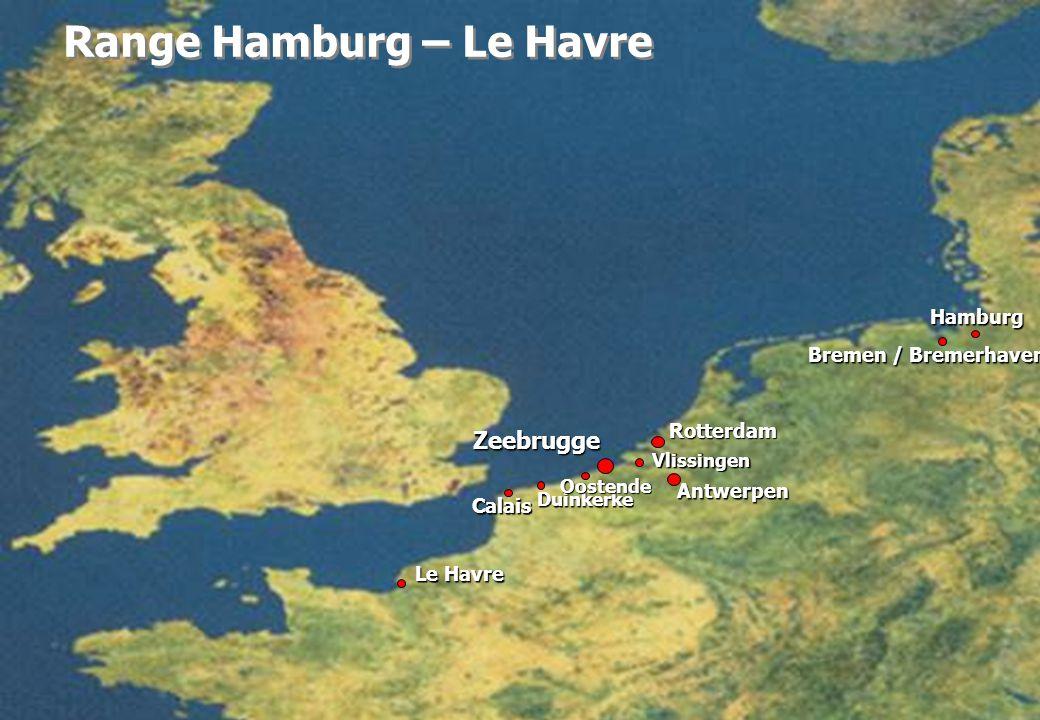 Rotterdam Hamburg Duinkerke Bremen / Bremerhaven Le Havre Calais Range Hamburg – Le Havre Antwerpen Zeebrugge Vlissingen Oostende