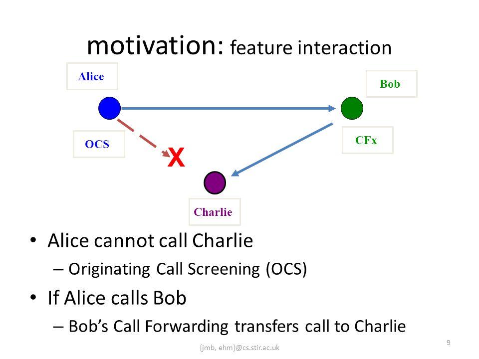 {jmb, ehm}@cs.stir.ac.uk 9 motivation: feature interaction Alice cannot call Charlie – Originating Call Screening (OCS) If Alice calls Bob – Bob's Cal