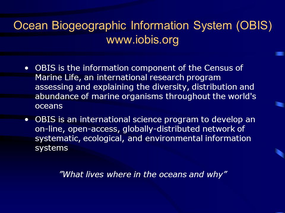 Ocean Biogeographic Information System (OBIS) www.iobis.org OBIS is the information component of the Census of Marine Life, an international research program assessing and explaining the diversity, distribution and abundance of marine organisms throughout the world s oceans OBIS is an international science program to develop an on-line, open-access, globally-distributed network of systematic, ecological, and environmental information systems What lives where in the oceans and why