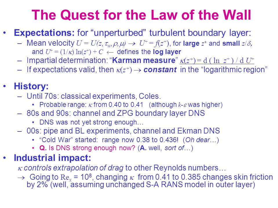 Karman Measure Expected qualitative behavior in channel flow S-A model, for illustration only (Mellor-Herring buffer-layer function) Increasing Re z+z+