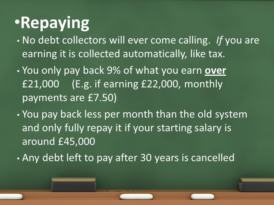 Repaying No debt collectors will ever come calling.