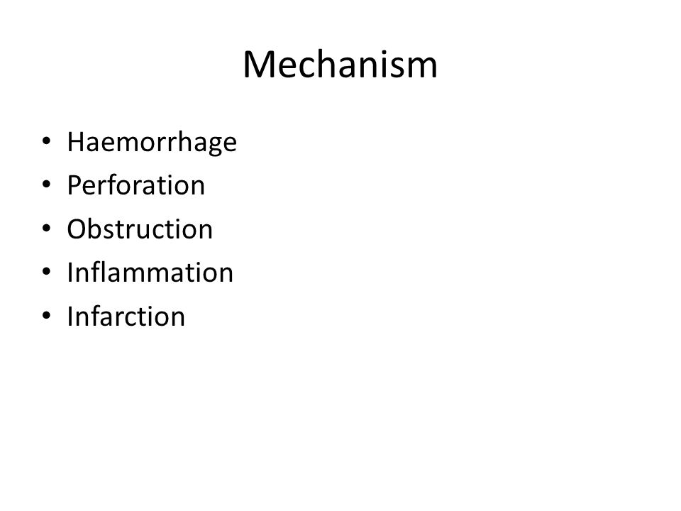 Mechanism Haemorrhage Perforation Obstruction Inflammation Infarction