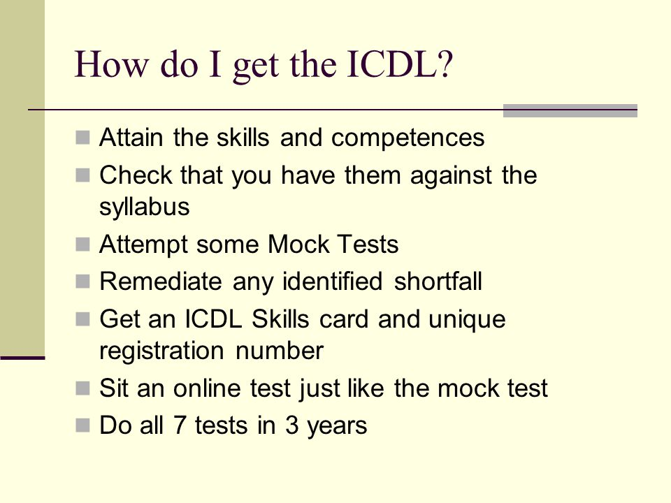 How do I get the ICDL.
