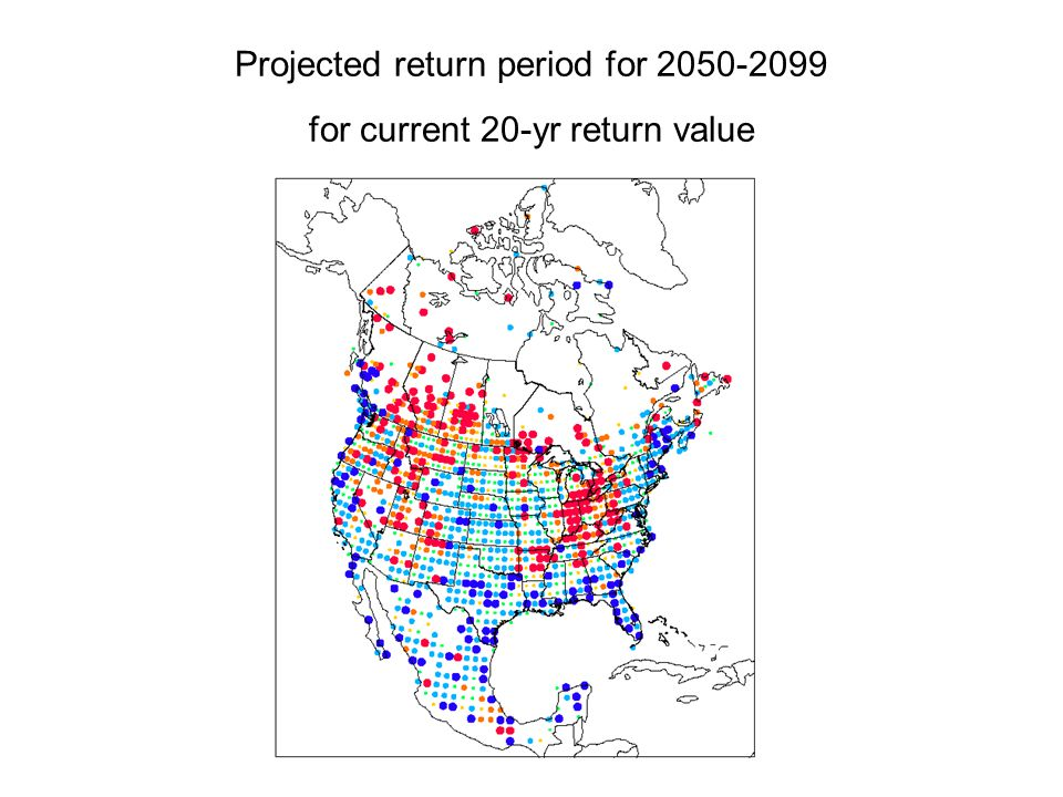Projected return period for 2050-2099 for current 20-yr return value