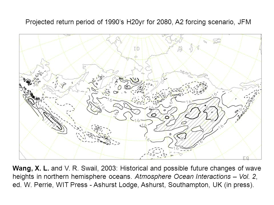 Projected return period of 1990's H20yr for 2080, A2 forcing scenario, JFM Wang, X.