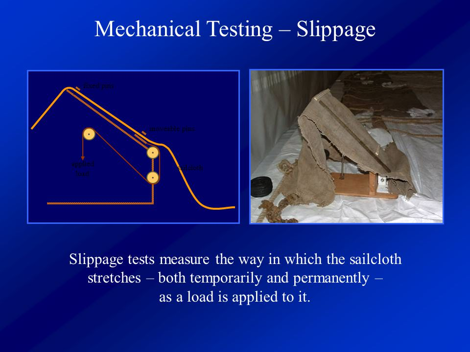 Mechanical Testing – Slippage Testing... fixed pins moveable pins applied load sailcloth Slippage tests measure the way in which the sailcloth stretch