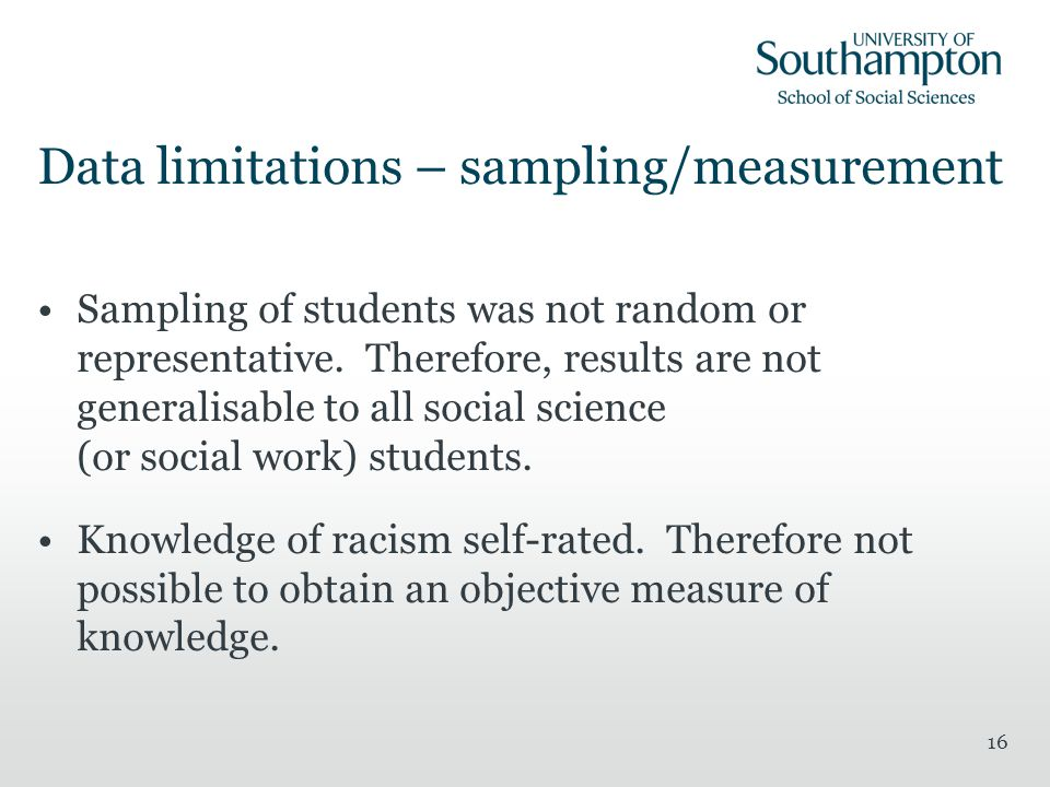 16 Sampling of students was not random or representative.