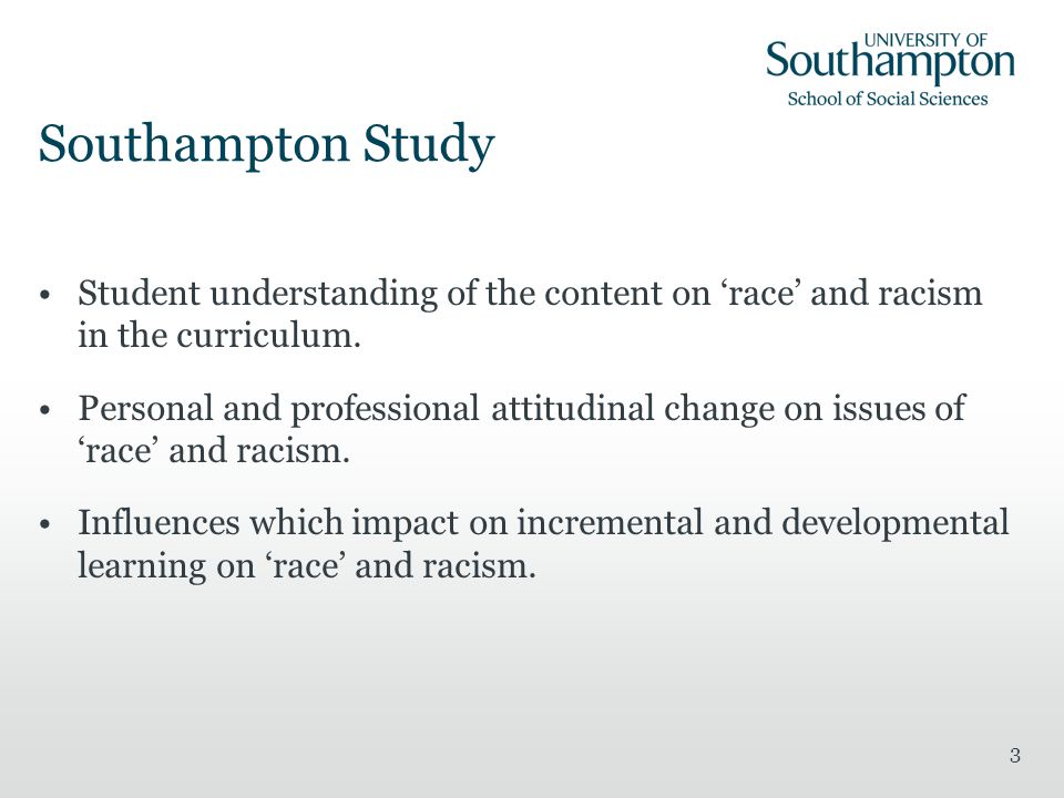 3 Southampton Study Student understanding of the content on 'race' and racism in the curriculum.