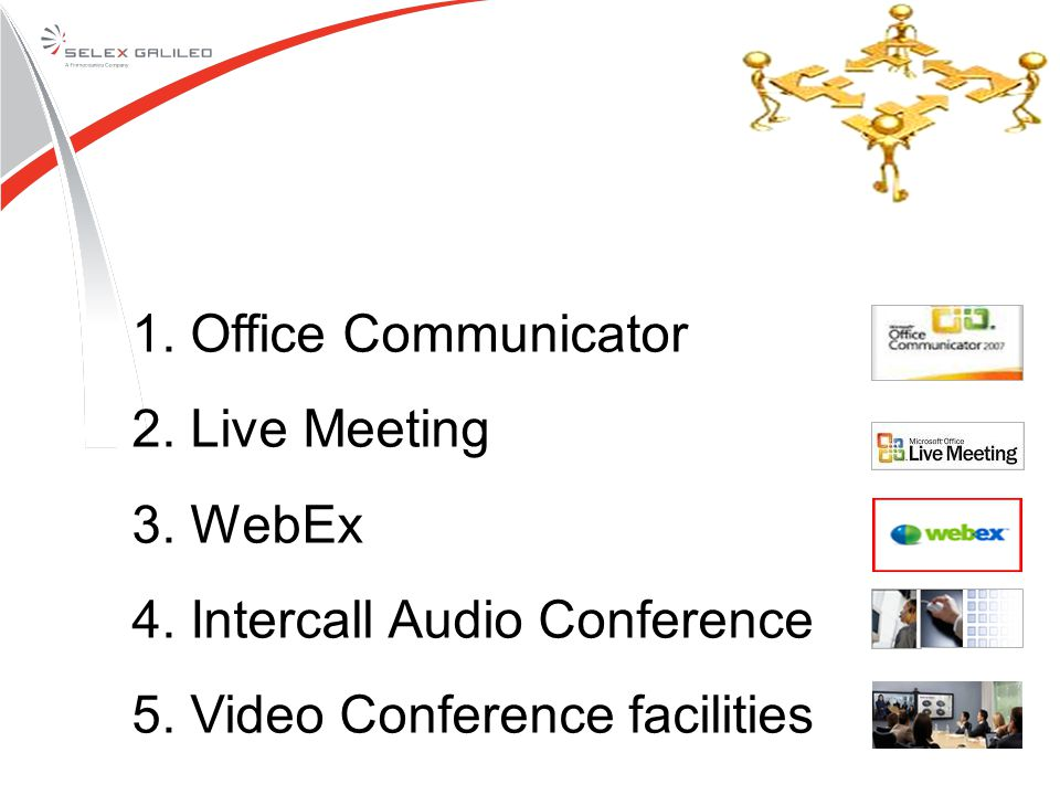 1. Office Communicator 2. Live Meeting 3. WebEx 4. Intercall Audio Conference 5. Video Conference facilities