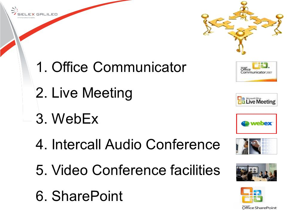 1. Office Communicator 2. Live Meeting 3. WebEx 4.
