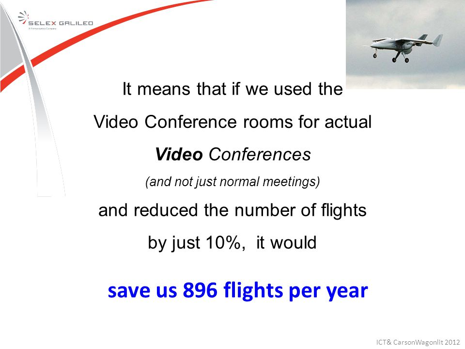 It means that if we used the Video Conference rooms for actual Video Conferences (and not just normal meetings) and reduced the number of flights by just 10%, it would save us 896 flights per year ICT& CarsonWagonlit 2012