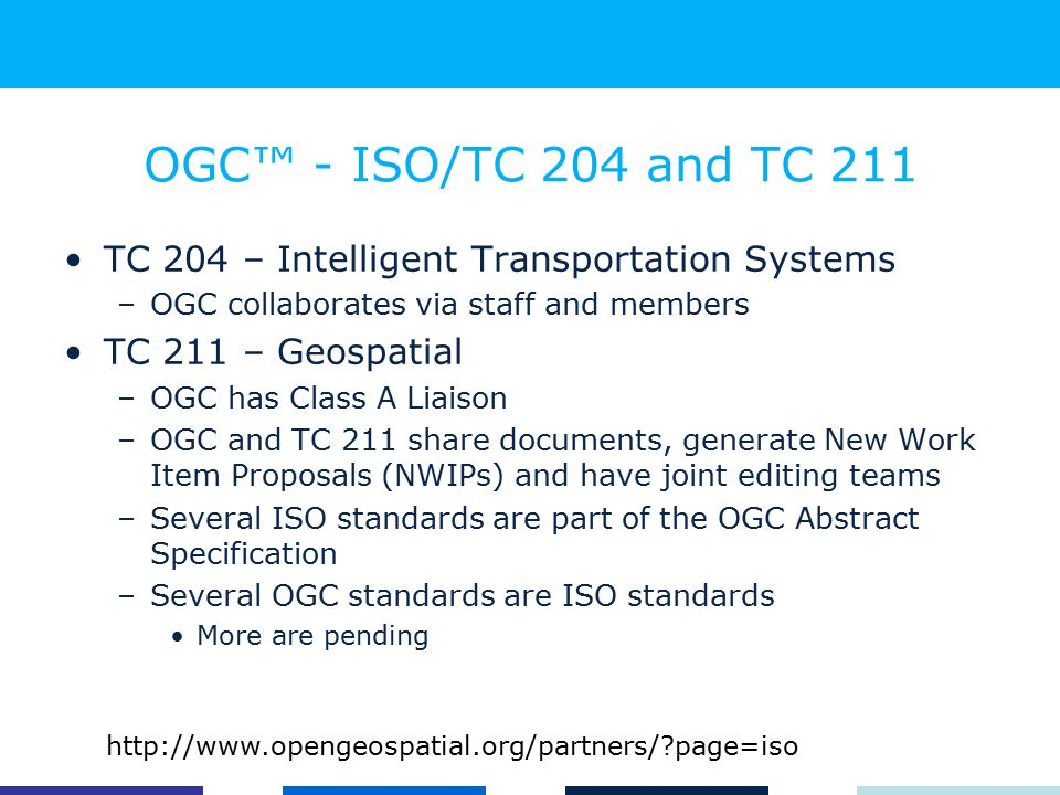 OGC™ - ISO/TC 204 and TC 211 TC 204 – Intelligent Transportation Systems –OGC collaborates via staff and members TC 211 – Geospatial –OGC has Class A Liaison –OGC and TC 211 share documents, generate New Work Item Proposals (NWIPs) and have joint editing teams –Several ISO standards are part of the OGC Abstract Specification –Several OGC standards are ISO standards More are pending http://www.opengeospatial.org/partners/ page=iso