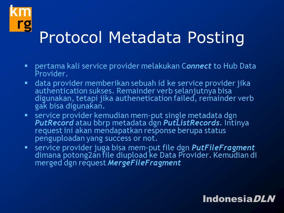 IndonesiaDLN km rg Protocol Metadata Posting  pertama kali service provider melakukan Connect to Hub Data Provider.  data provider memberikan sebuah