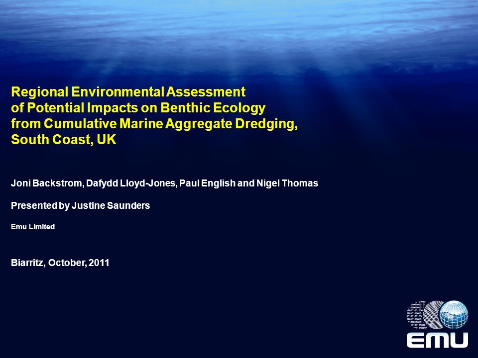 Main Findings and Recommendations From a regional perspective, non-significant impacts on Benthic Ecology from seabed extraction and suspended sediment plume due to aggregate activities; Some sub-regional impacts of minor significance due to presence of sensitive biotopes; Such sensitive biotopes identified and to be assessed at EIA level Other topics covered included effects on sites of nature conservation, birds, marine mammals, fish and other socio-economic activities High level of precaution adopted in terms of the magnitude of dredging and plume footprint REA methodology has proved an effective tool for assessing cumulative effects from marine aggregate extraction and in-combination effects across a range of activities (e.g.