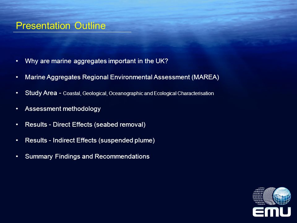 Presentation Outline Why are marine aggregates important in the UK.