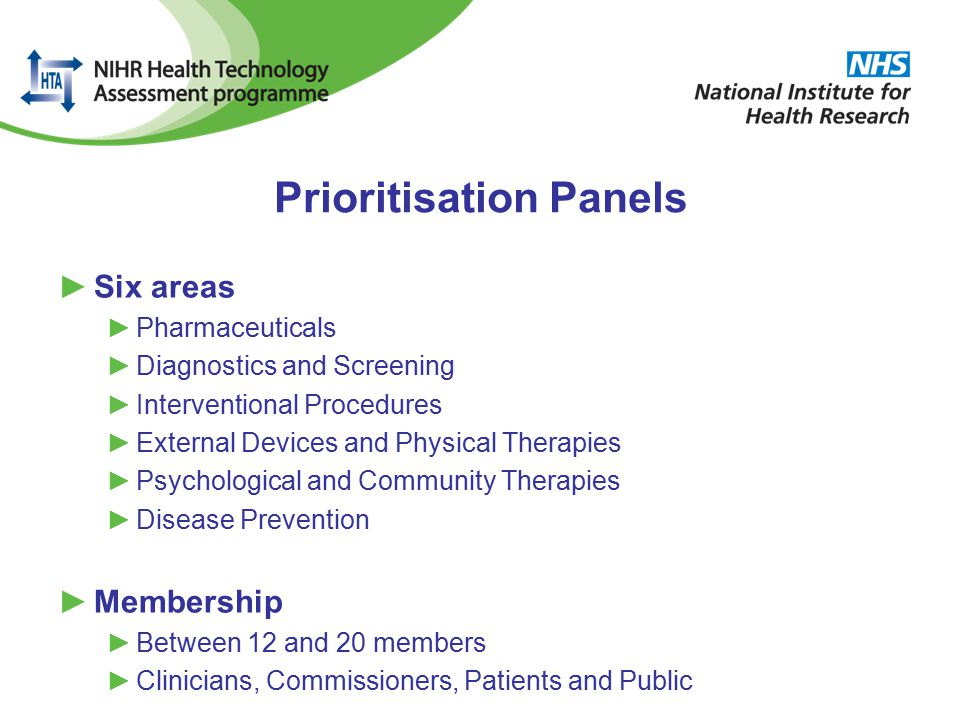 Prioritisation Panels ►Six areas ►Pharmaceuticals ►Diagnostics and Screening ►Interventional Procedures ►External Devices and Physical Therapies ►Psychological and Community Therapies ►Disease Prevention ►Membership ►Between 12 and 20 members ►Clinicians, Commissioners, Patients and Public