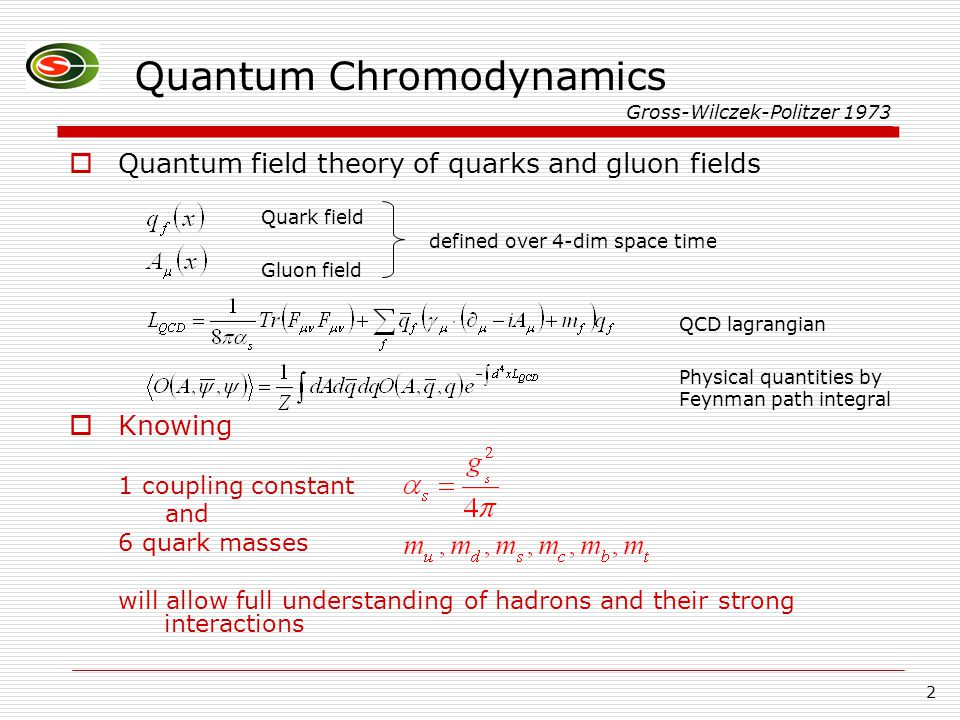 2 Quantum Chromodynamics  Quantum field theory of quarks and gluon fields  Knowing 1 coupling constant and 6 quark masses will allow full understanding of hadrons and their strong interactions Gross-Wilczek-Politzer 1973 Quark field Gluon field defined over 4-dim space time QCD lagrangian Physical quantities by Feynman path integral
