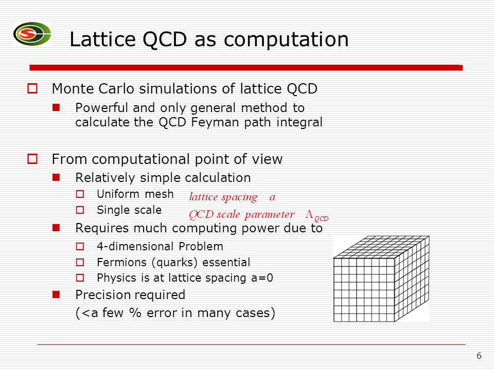 6 Lattice QCD as computation  Monte Carlo simulations of lattice QCD Powerful and only general method to calculate the QCD Feyman path integral  Fro