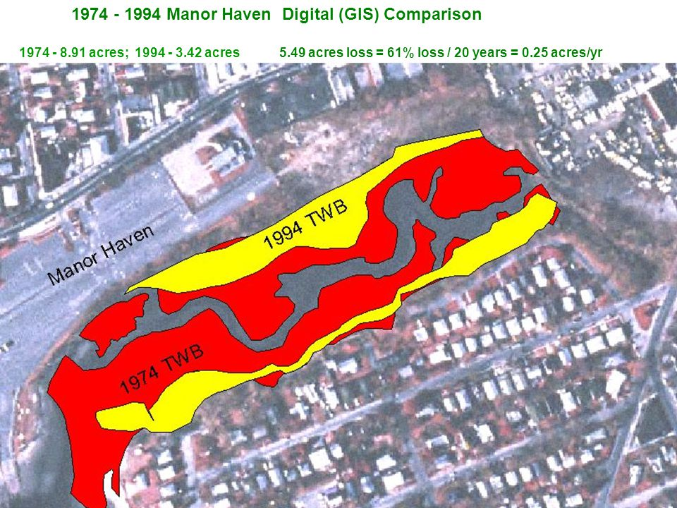 1974 - 1994 Manor Haven Digital (GIS) Comparison 1974 - 8.91 acres; 1994 - 3.42 acres 5.49 acres loss = 61% loss / 20 years = 0.25 acres/yr