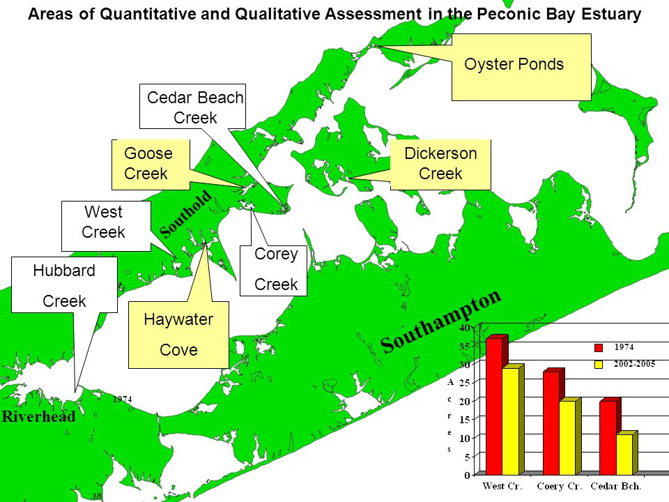 Areas of Quantitative and Qualitative Assessment in the Peconic Bay Estuary Hubbard Creek Cedar Beach Creek Corey Creek Dickerson Creek Goose Creek Oyster Ponds Haywater Cove West Creek Southampton Riverhead Southold AcresAcres 1974 2002-2005