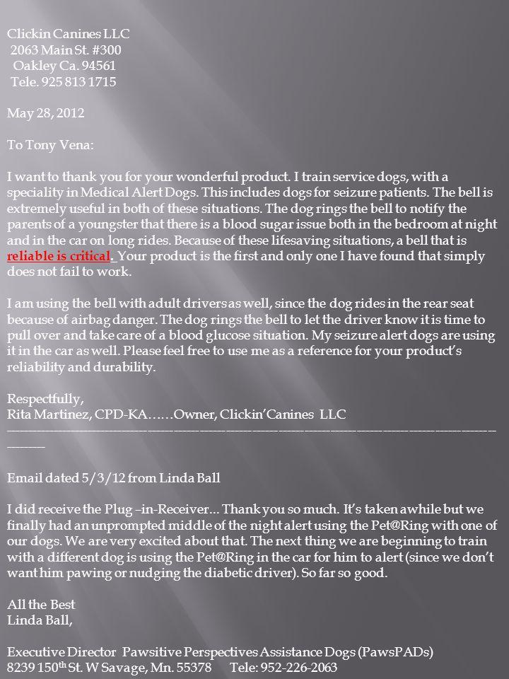 Clickin Canines LLC 2063 Main St.#300 Oakley Ca. 94561 Tele.