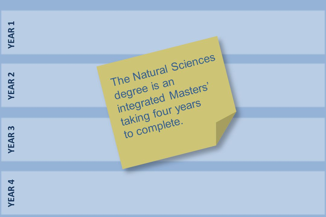 YEAR 1 YEAR 2 YEAR 3 YEAR 4 The Natural Sciences degree is an integrated Masters' taking four years to complete.