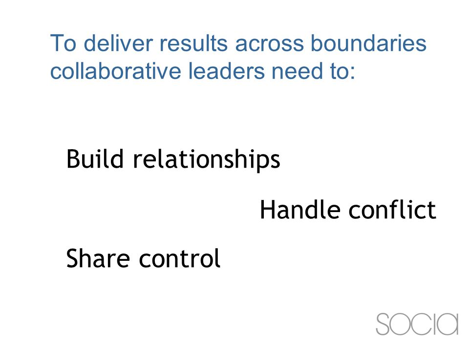 To deliver results across boundaries collaborative leaders need to: Build relationships Handle conflict Share control