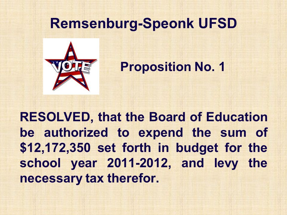 Remsenburg-Speonk UFSD RESOLVED, that the Board of Education be authorized to expend the sum of $12,172,350 set forth in budget for the school year 20