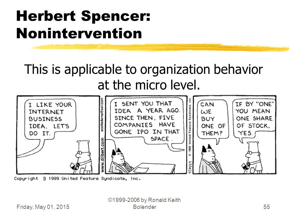Friday, May 01, 2015 ©1999-2006 by Ronald Keith Bolender55 Herbert Spencer: Nonintervention This is applicable to organization behavior at the micro level.