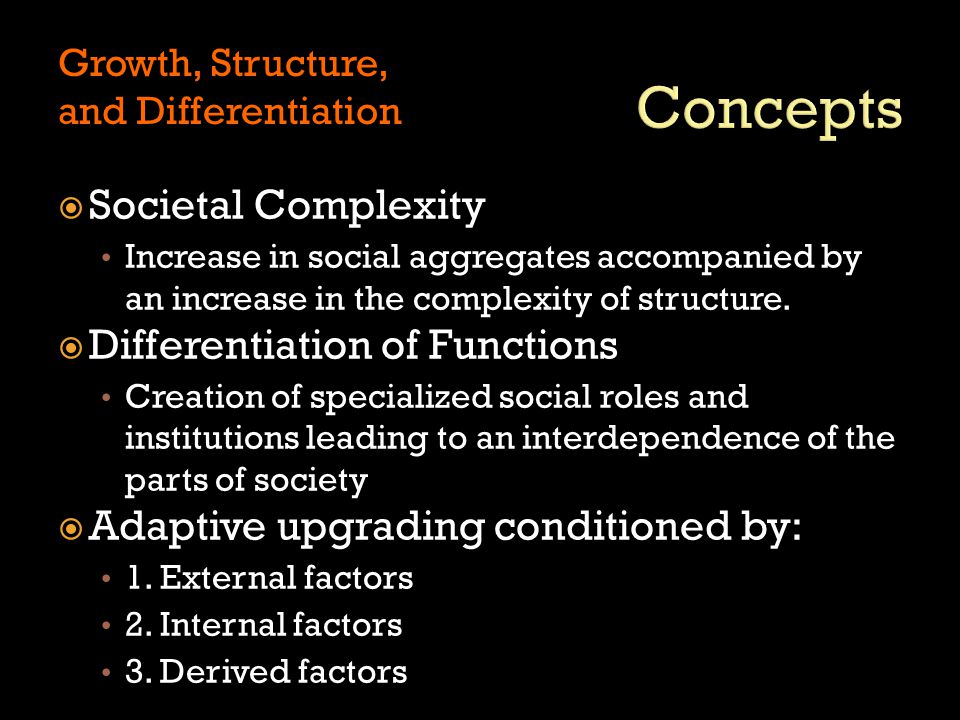  Society development  Social institutions arise from structural requirements  Division of labor Functionalism