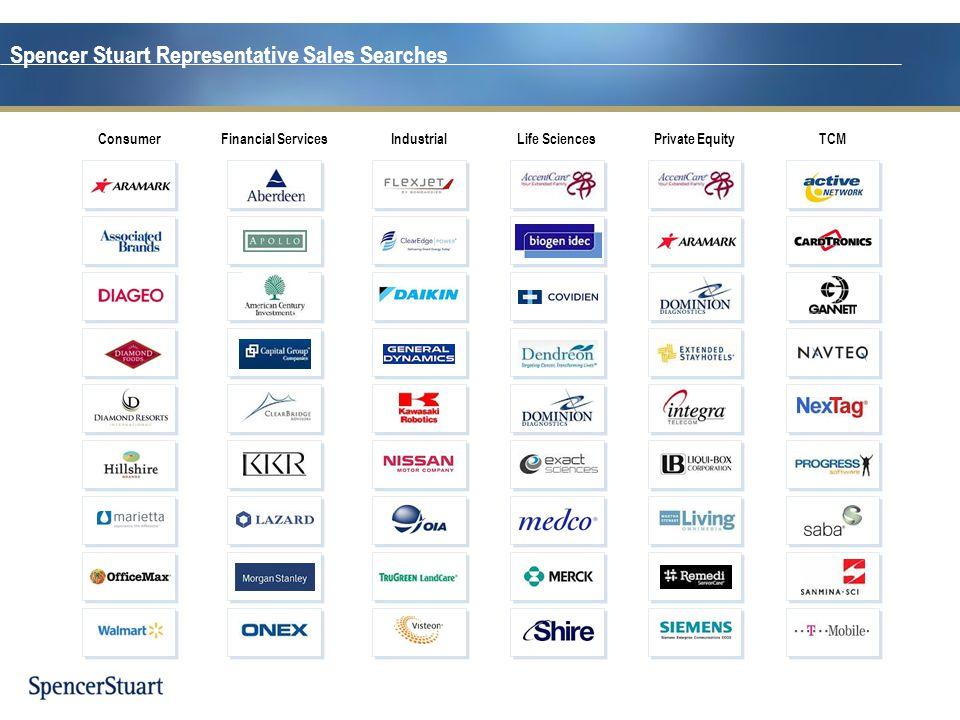 Spencer Stuart Representative Sales Searches TCMPrivate EquityLife SciencesIndustrialFinancial ServicesConsumer