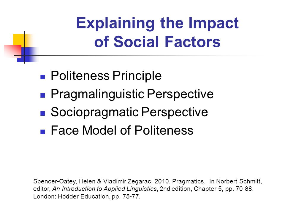 Explaining the Impact of Social Factors Politeness Principle Pragmalinguistic Perspective Sociopragmatic Perspective Face Model of Politeness Spencer-Oatey, Helen & Vladimir Zegarac.