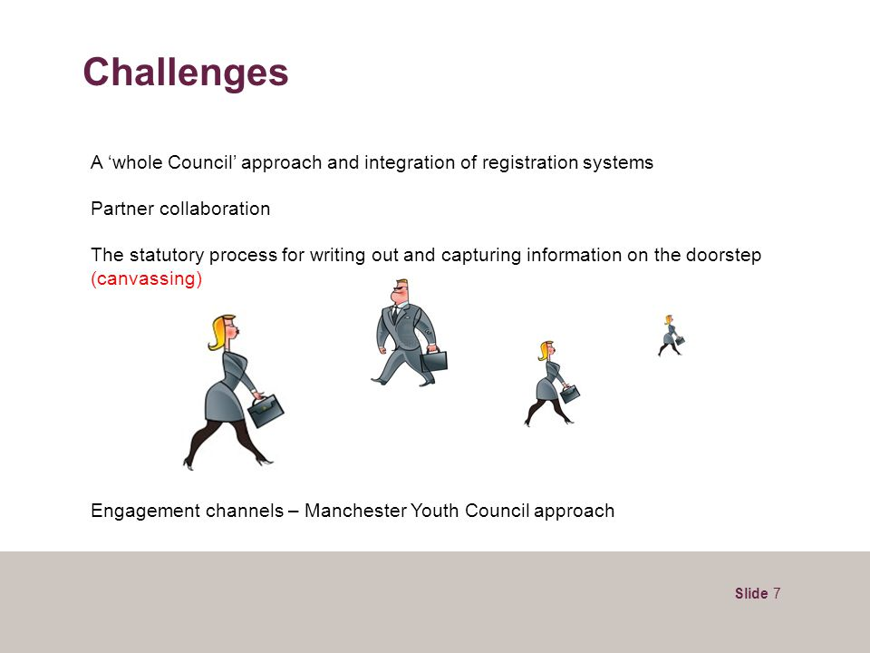 Slide 7 Challenges A 'whole Council' approach and integration of registration systems Partner collaboration The statutory process for writing out and capturing information on the doorstep (canvassing) Engagement channels – Manchester Youth Council approach