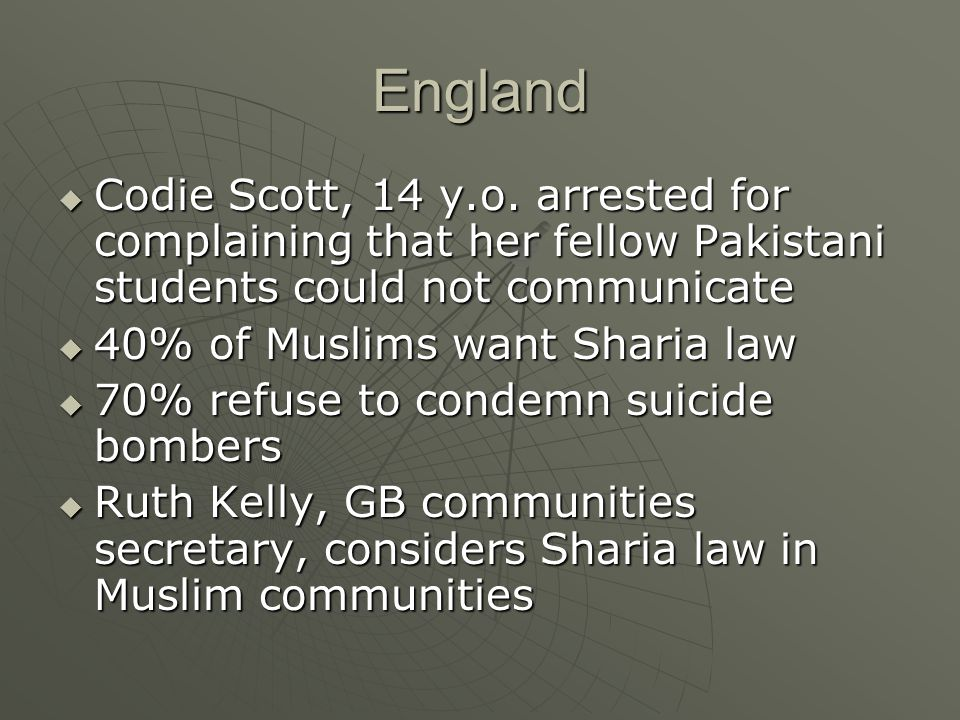 England  Codie Scott, 14 y.o. arrested for complaining that her fellow Pakistani students could not communicate  40% of Muslims want Sharia law  70