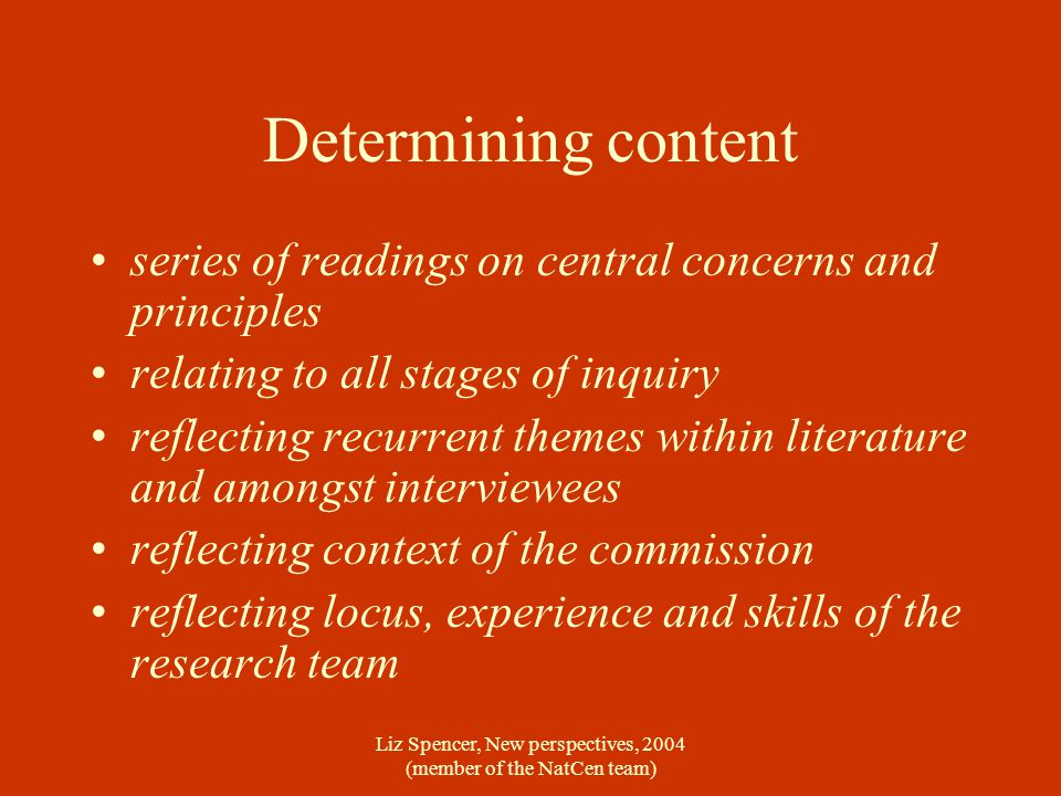Liz Spencer, New perspectives, 2004 (member of the NatCen team) Determining content series of readings on central concerns and principles relating to