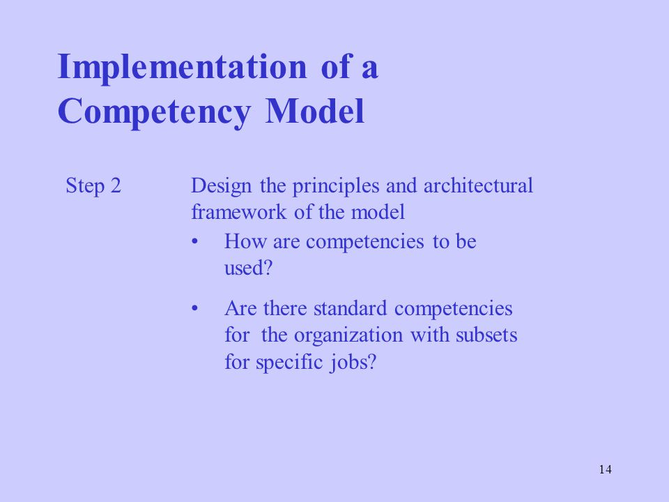 14 Implementation of a Competency Model Step 2 Design the principles and architectural framework of the model How are competencies to be used.