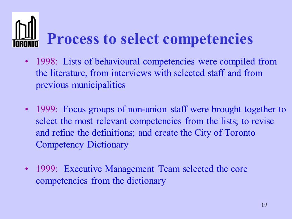 19 Process to select competencies 1998: Lists of behavioural competencies were compiled from the literature, from interviews with selected staff and from previous municipalities 1999: Focus groups of non-union staff were brought together to select the most relevant competencies from the lists; to revise and refine the definitions; and create the City of Toronto Competency Dictionary 1999: Executive Management Team selected the core competencies from the dictionary
