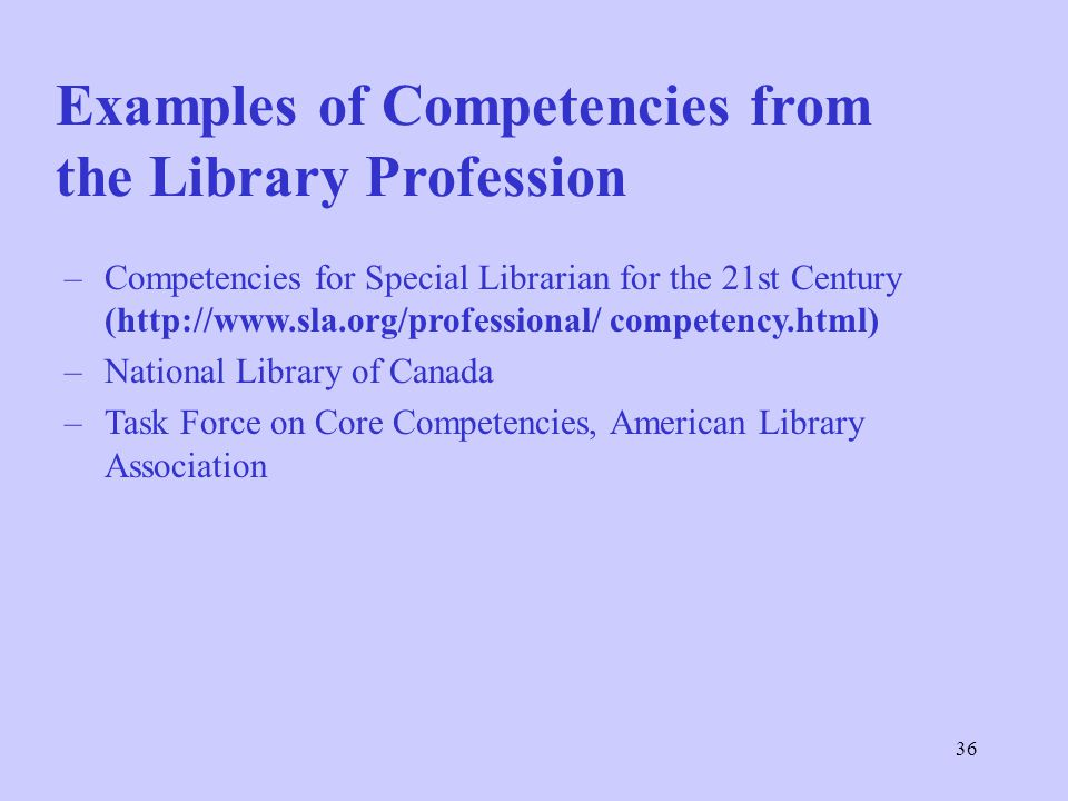 36 Examples of Competencies from the Library Profession –Competencies for Special Librarian for the 21st Century (http://www.sla.org/professional/ competency.html) –National Library of Canada –Task Force on Core Competencies, American Library Association