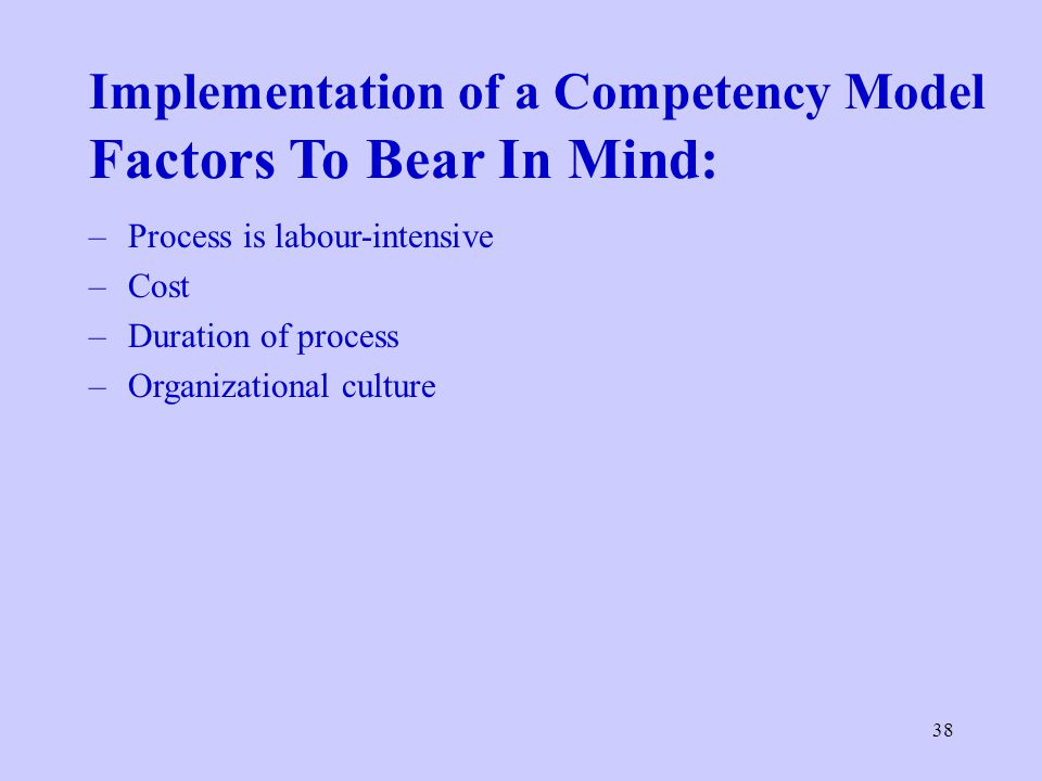 38 Implementation of a Competency Model Factors To Bear In Mind: –Process is labour-intensive –Cost –Duration of process –Organizational culture