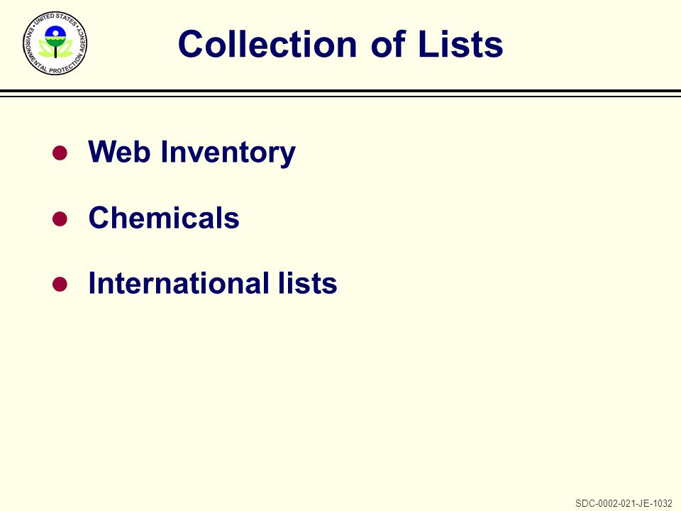 SDC-0002-021-JE-1032 Collection of Lists l Web Inventory l Chemicals l International lists