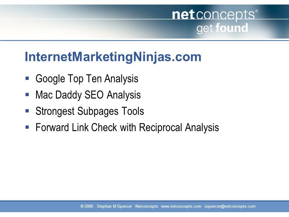 InternetMarketingNinjas.com  Google Top Ten Analysis  Mac Daddy SEO Analysis  Strongest Subpages Tools  Forward Link Check with Reciprocal Analysis